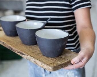 Ceramic Bowl Set, Pasta Bowl, Serving Bowl Salad, Bowl Black and White, Dinnerware Set, Ceramic Serving Bowl, Pottery Serving Bowl Set