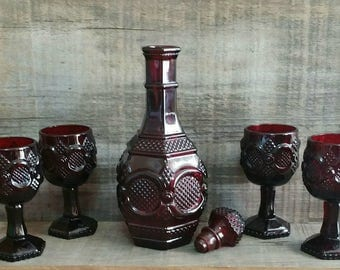Vintage Avon 1876 Cape Cod Collection Ruby Red Wine Decanter with Four Wine Goblets, Avon Collectible Decanter Set