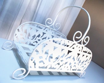 French origin metal display basket, magazine rack, paper in tray, elegant display basket, balcony flower display, bathroom storage