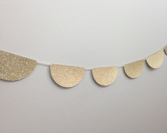 Gold Glitter Bunting Garland - Photography Prop - Paper Garland - Party Decor - Cake Smash Decor - Retro