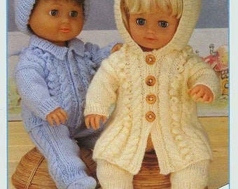 Knit Doll Clothes Cabled Outfits to fit dolls and preemie baby instant download knitting pattern