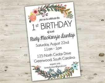 Girl Birthday Invitation - Birthday Invitations, Custom Birthday Invitations, Birthday Invites, Birthday Invitations for Girls