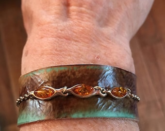 Sterling with amber and embossed leather cuff bracelet