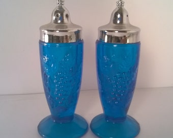 Vintage Orchard Blue Glass Salt and Pepper Shaker Set (#12)