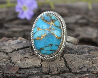 Natural Blue Copper Turquoise Gemstone 925 Sterling Silver Ring Size 6.5, Handmade Artisan Ring Jewelry, Birthstone Turquoise Ring 6.5