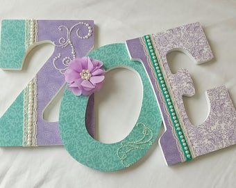 Wooden letters, Nursery letters for girl, girl nursery decor, girl nursery letters, purple and teal nursery, pearls and lace
