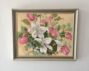 Framed Tulips ad Lilies Floral Needlepoint in Silver and Blue Frame