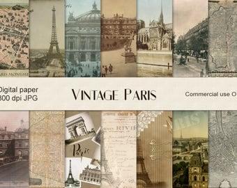 Old Paris digital paper, vintage maps, vintage Paris, antique Paris, antique maps scrapbook, instant download, Paris decoupage background CU