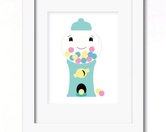 A4 gumball machine aqua print