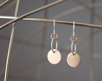 Understated Bronze Disc Earrings