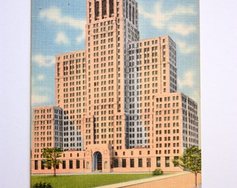 State Office Building Albany New York 1956 / Linen Postcard / Tichnor Postcard