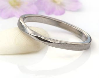 Ribbon Twist Wedding Ring | Ethical 18ct Gold or Platinum | Handmade to Size in the UK