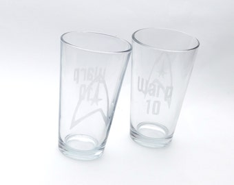 Pint Glass Custom Etched | Set of 2