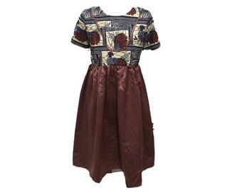 African Ankara girl's dress size 8 years (Brown)