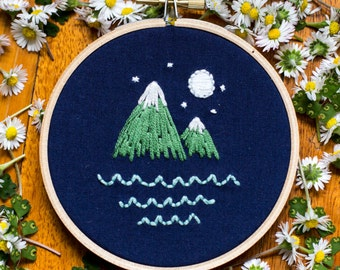Night Mountains Embroidery Hoop Art 4 inch
