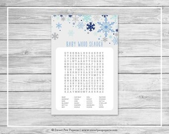 Winter Baby Shower Baby Word Search Game - Printable Baby Shower Word Search Game - Baby It's Cold Outside Baby Shower - Word Search - SP144