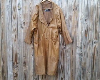 Vintage 1980s Leather Duster Leather Trench