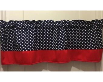 Navy blue polka dot curtain with red border curtain valance