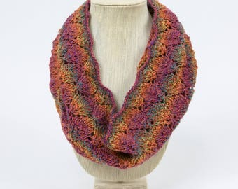 Autumn Colors Lace Hand Knit Cowl/Infinity Scarf - Falling Leaves Design
