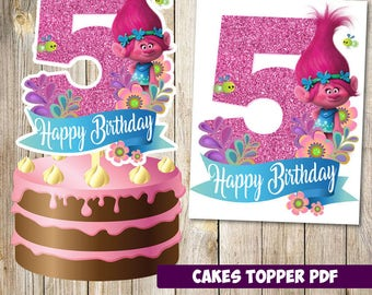 Trolls cakes toppers 5th instant download, Printable Trolls party Cakes Topper 5th, Logo Trolls Party, Trolls  Cakes Topper 5th