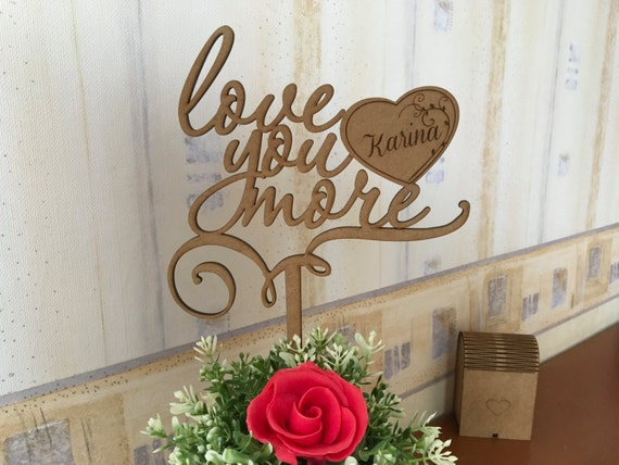 Rustic wedding cake topper Custom Name cake topper Gift for her Love you more Engraved heart Personalized Mr and Mrs wedding cake topper