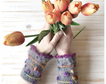 Knitted Fingerless Gloves Gift Ideas  Mohair Gloves and Mittens