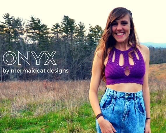 Crochet crop top bikini top pattern -Onyx
