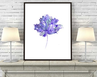 Purple Flower Watercolor Print Flower Art Print, Purple Watercolor Painting Print, Flower Illustration, Wall Decor - 42