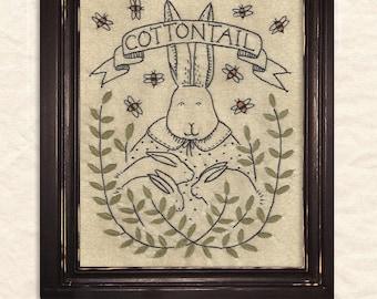 A Joyful Journey - New Stitchery pattern by Kathy Schmitz - April - Cottontail