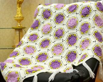 Crochet blanket PURPLE ROSES