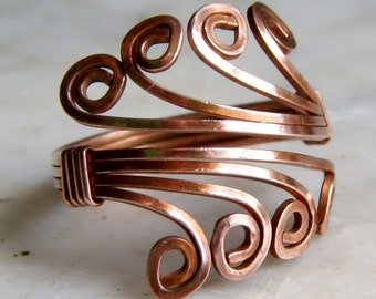 Copper Ring, Antiqued , Wire Wrapped Ring, R539