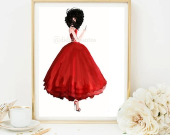 Lady in red home  & office decor