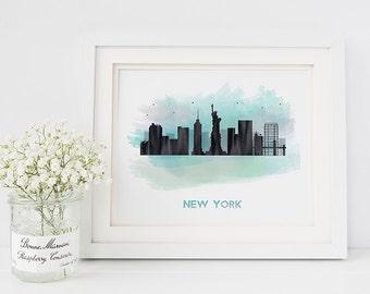 New York print - New York skyline print - New York art - skyline prints - New York decor - city prints - city skyline - New York poster