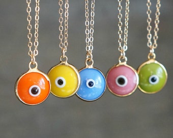 Evil Eye Necklace // Orange - Yellow - Periwinkle - Pink - Green Eye Pendant on a 14k Gold Filled Chain / Good Luck Charm Necklace