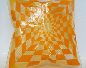Pop Art 1960s Vinyl Inflatable Pillow Psychedelic Kaleidoscope, Mid Century Modern Blow Up Retro Vinyl Pillow 1960s RARE