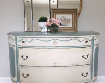 AVAILABLE! Hand Painted Antique French Demilune Table Console Chest