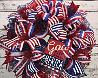 Patriotic Wreath, 4th of July Door Wreath, Summer Wreath, Fourth of July Wreath for Front Door, Patriotic Door Wreath, Red White Blue Wreath