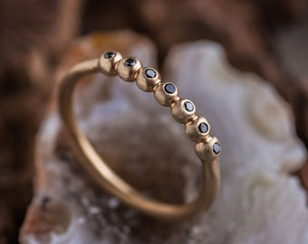 Black Diamonds Bubbles Gold Ring set in 14K, Natural Diamonds Stackable Ring, 14K Yellow Gold Band Ring, Zehava Jewelry