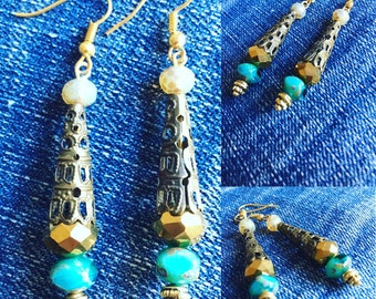 Boho chic dangle earrings with turquoise and golden glass Czech beads