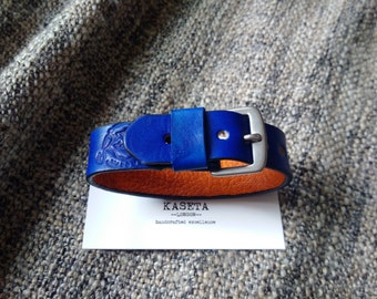 Unisex double leather bracelet 19M 'Navy/Tan'