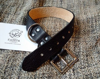 Leather dog collar 'Black'