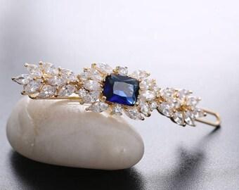 Bridal Hair Clip Crystal Hair Clip CZ Hair Clip Hair  Claw Sapphire Blue Hair Clip Rose Gold White Gold Crystal Barrette Rodium  Hair Clip
