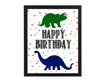 Dinosaur Birthday Party Wall Art Printable Sign - Print DIY Decoration Decor Dino Dinosaur party - Instant Printable Digital Download diy