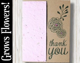 """CUSTOMIZABLE - Grows 13 different Wildflowers - """"Thank you"""" - Plant the Card! - #TY004"""