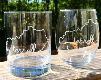 2 Last Name Etched Bourbon OR Stemless Wine Glasses