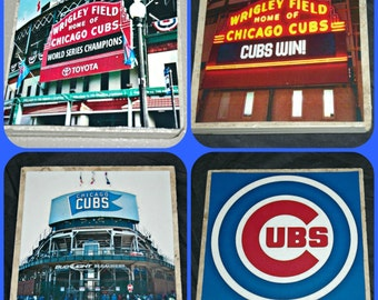 Cubs Coasters - Chicago Illinois  - Chicago Cubs gifts - Chicago Cubs - Wrigley Field - Cubs Baseball - Chicago Gifts - World Series Cubs