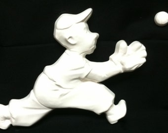 Baseball Player Sculpture Unpainted Plaster Art & Craft Project for Painting