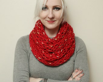 Red and Gold Leaf Chunky Open Knit Infinity Scarf