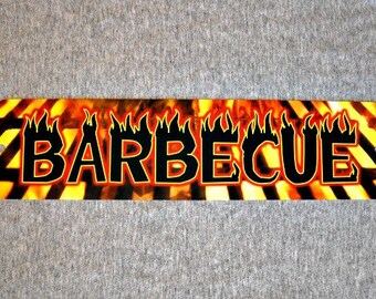 Metal Sign BARBECUE barbeque BBQ grill grilling restaurant shack pit trailer meat garage man cave wall plaque