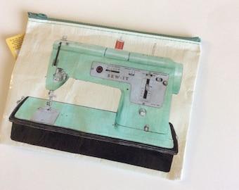 Sew It Zipper Pouch: Blue Q Zipper Pouch, Mixed Media, Sew it, Junk Journal, Art supply pouch